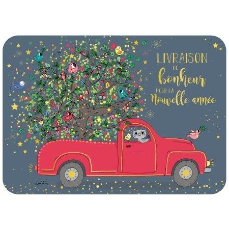 Franse nieuwjaarskaart met poes in auto
