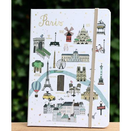 Groot notitieboekje met Parijse stadsplattegrond