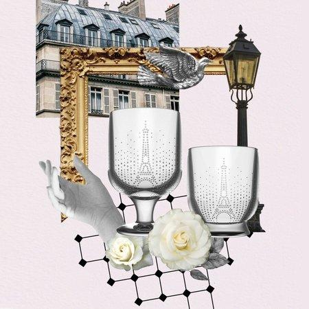 Set wijnglazen met de Eiffeltoren