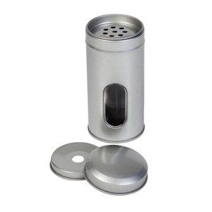 Thee/Kruidenblik zilver rond 50x105mm met venster