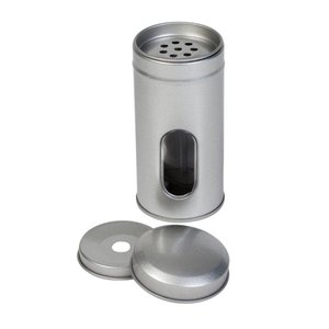 Theeblik zilver rond 50x105mm met venster