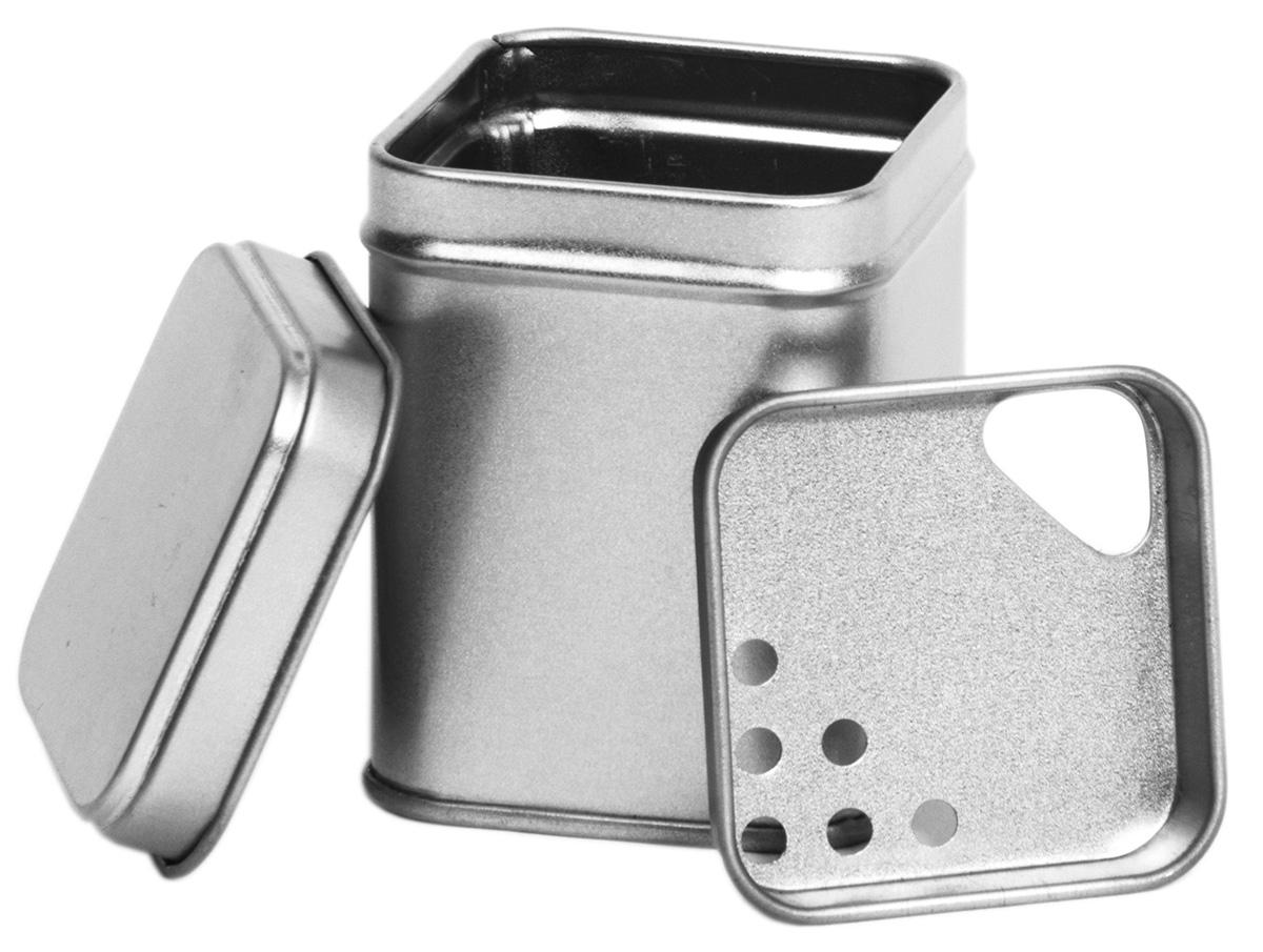 Theeblikje zilver 44x44x64mm  met strooi inzet