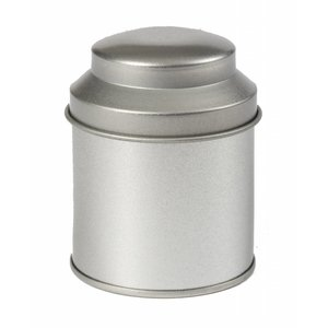 Theeblikje zilver rond 53 x 70mm