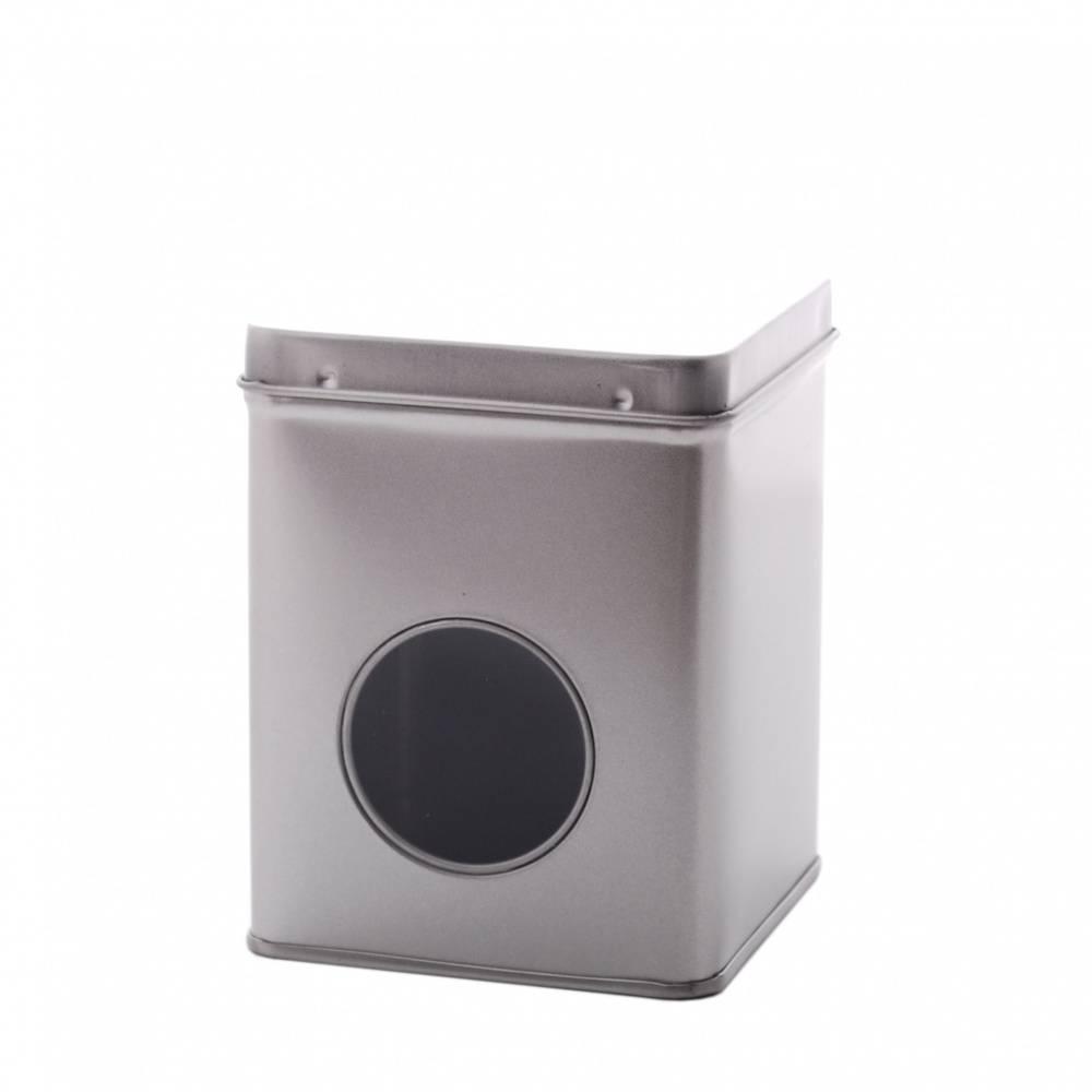 Kruidenblikje zilver 88x88x115mm met venster