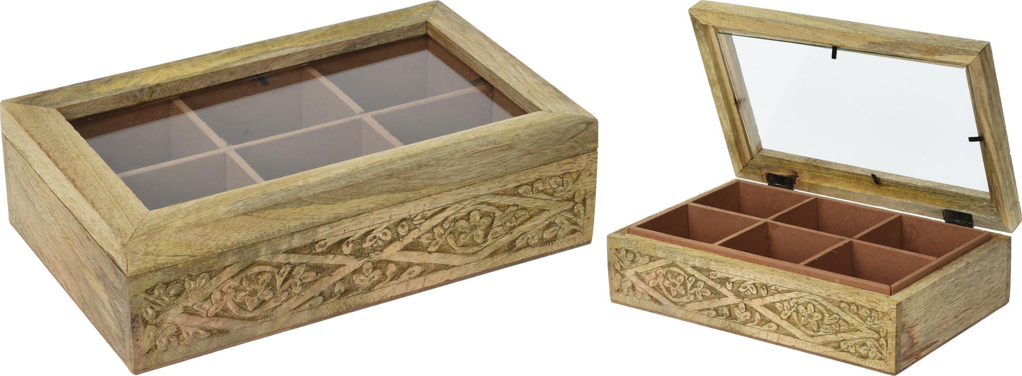 Theekist hout 6 vaks met motief