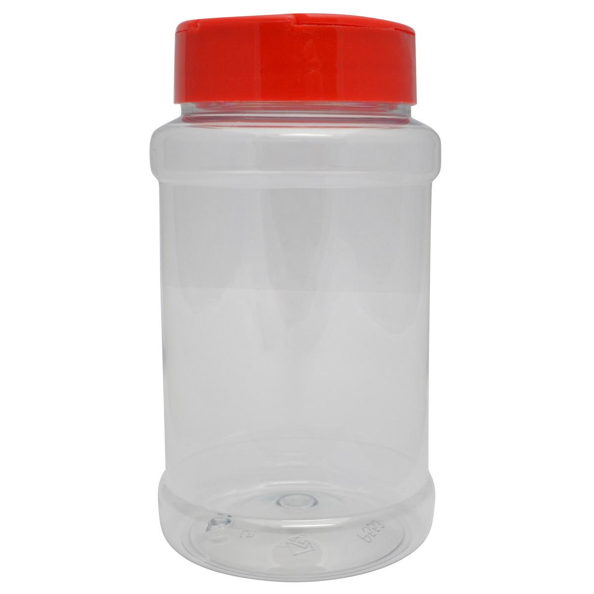 Strooibus kunststof 500 ml met rode deksel