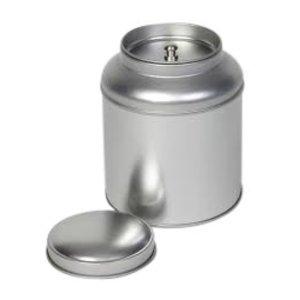 Thee/Kruidenblik rond zilver met binnendeksel 90x115mm