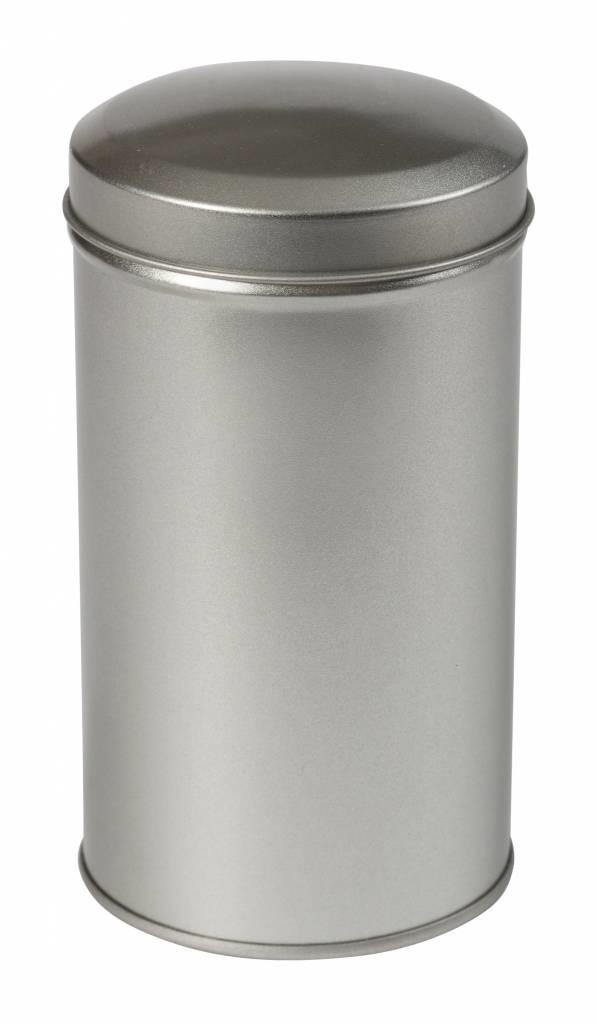 Theeblikje zilver rond 65x118mm