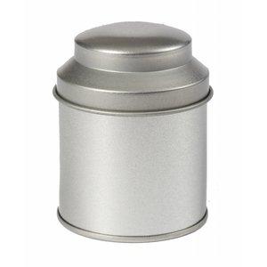 Thee/Kruidenblik zilver rond 53 x 70mm