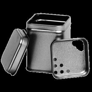 Thee/Kruidenblik zilver 53x53x71 mm  met strooi inzet
