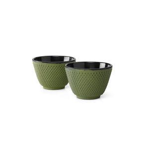 Kopjes Xilin  gietijzer groen set a 2 stuks