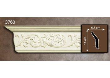 Grand Decor Kroonlijst C763 (150 x 67 mm), polyurethaan, lengte 2 m (Z11)