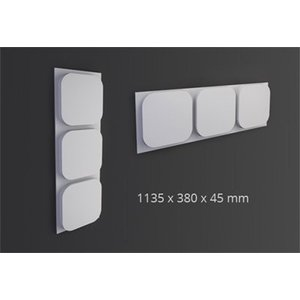 NMC 3D Wallpanel / Wandpaneel Icon Polyurethaan (1135 x 380 x 45 mm) - 3 Wandpanelen