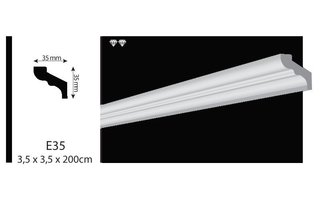 Vidella VE35 (35 x 35mm), plafondlijst, sierlijst,  lengte 2 m