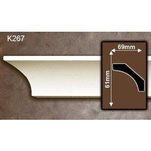 Grand Decor Kroonlijst K267 / P944 (61 x 69 mm), polyurethaan, lengte 2 m