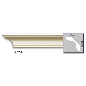 Grand Decor Plafondlijst K205 (59 x 59 mm), polyurethaan, lengte 2 m