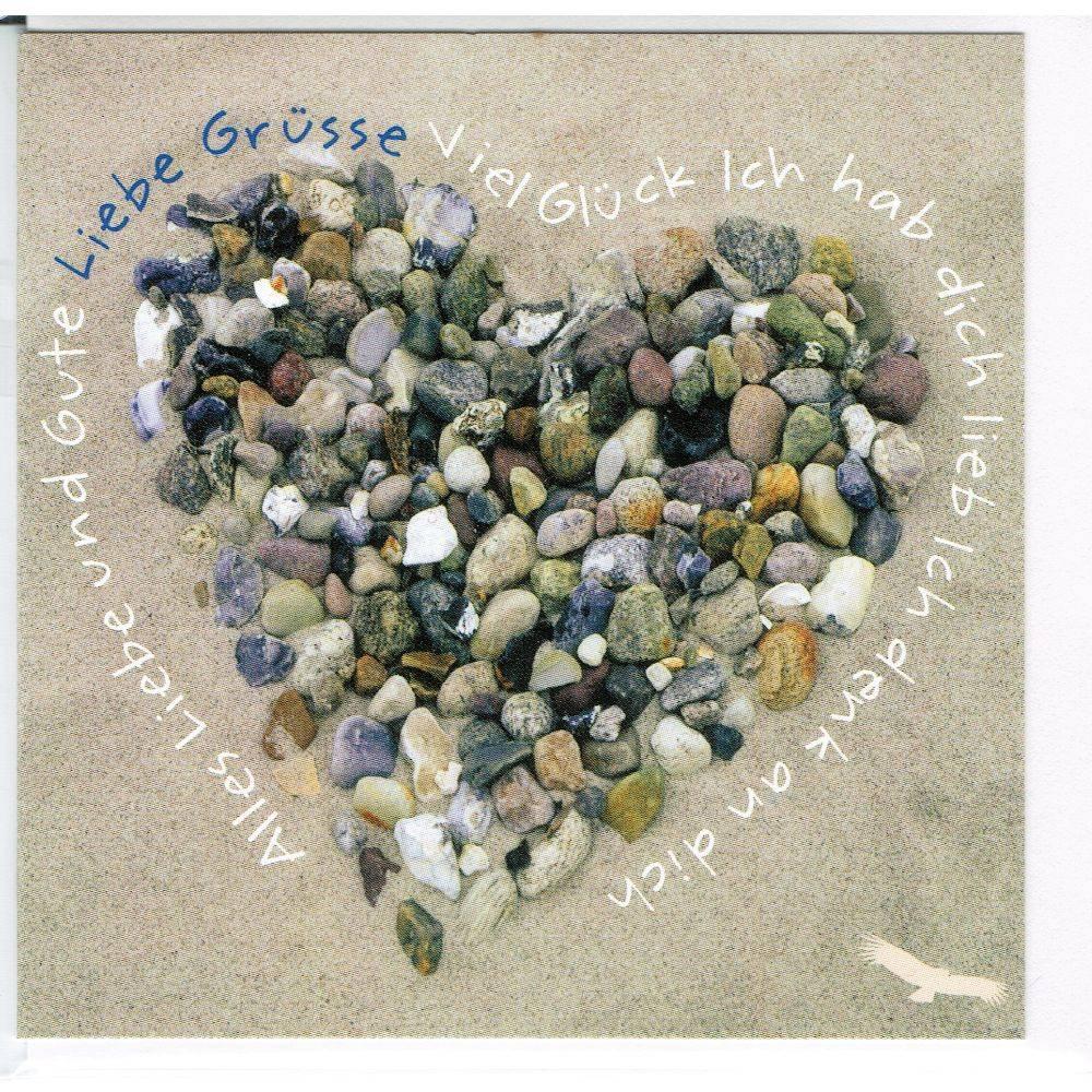Karte Hab Dich lieb - Herz am Strand