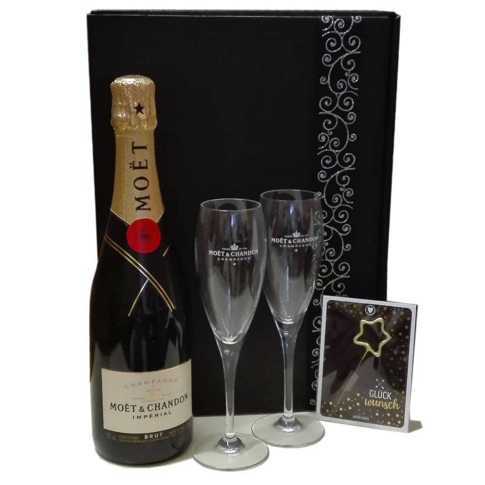 Moet & Chandon Champagner Prickelnde Glückwünsche -Geschenkbox mit Champagner und passenden Gläsern