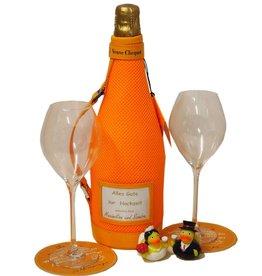 Veuve Clicquot Champagner in Hochzeitslaune - Geschenkset mit Originalgläsern