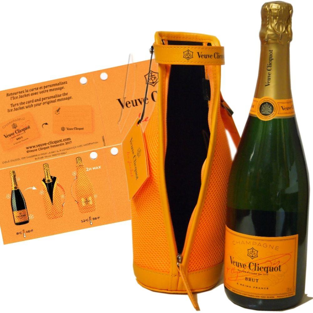 Veuve Clicquot Champagner Brut Carte Jaune im Isoliermantel mit Gläsern als Hochzeitsgeschenk