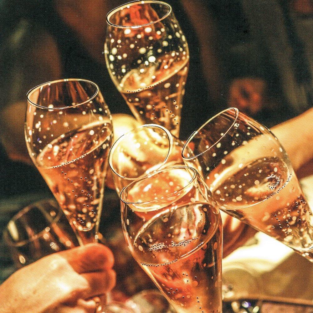Grußkarte mit Champagnergläsern