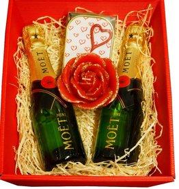 Moet & Chandon Champagner Geschenkkorb Von Herzen mit 2 Mini Moet Champagner