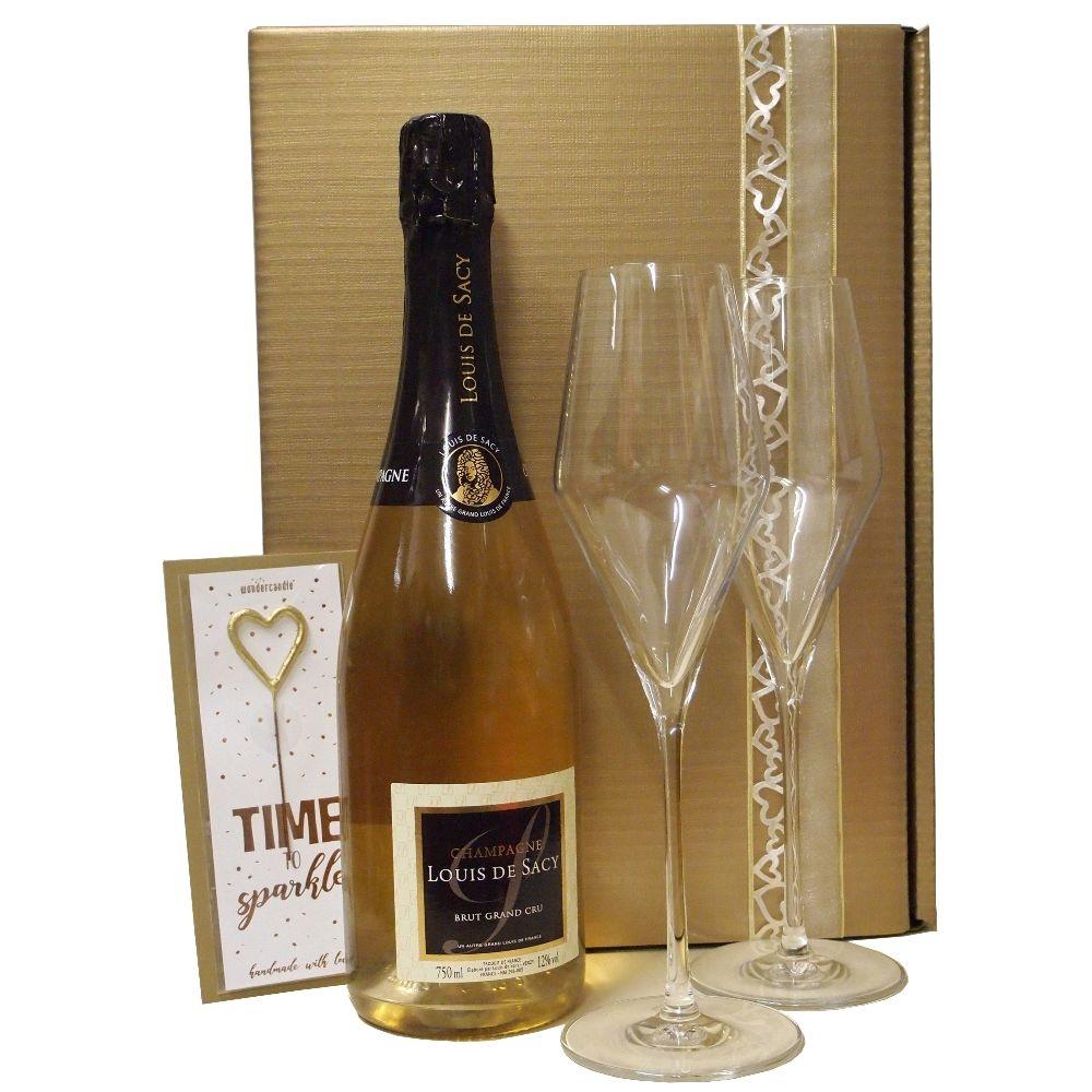 Louis de Sacy Champagner edler Präsentkarton mit zwei Champagnergläsern