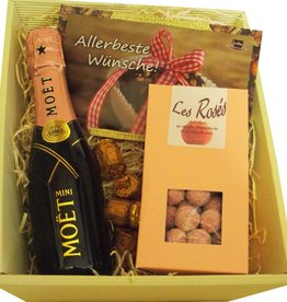 Moet & Chandon Champagner Geschenkkorb  mit Piccolo-Rosé-Champagner