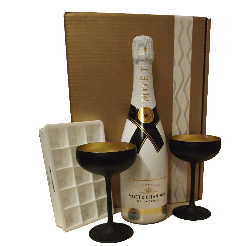Moet & Chandon Champagner Imperial Ice für perfekten Champagnergenuß auf Eis exklusives Geschenkpaket mit Champagnergläsern und Eiswürfelform