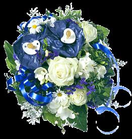 flotte Blumen Strauß zur Geburt - Junge