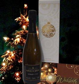 Louis de Sacy Champagner Grand Cru  in weihnachtlichem Geschenkkarton mit Weihnachtkarte