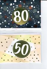 Glückwunschkarte zum runden Geburtstag mit Zahlensticker