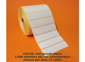 Zebra etiket 800274-105 verwijderbaar /102x25/K25/ 2580p.rol/ds à 12 rl.