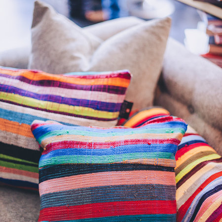 Decorative cushions made of recycled cotton