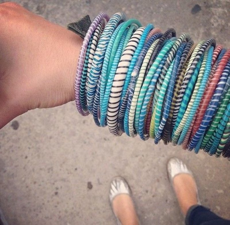 African colored bracelets from recycled slippers