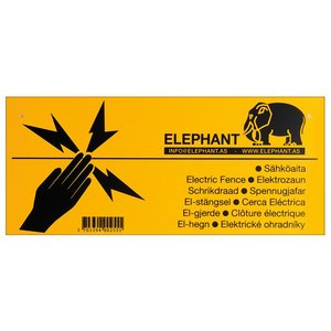 Elephant Waarschuwingsbordje voor elektronische afrastering