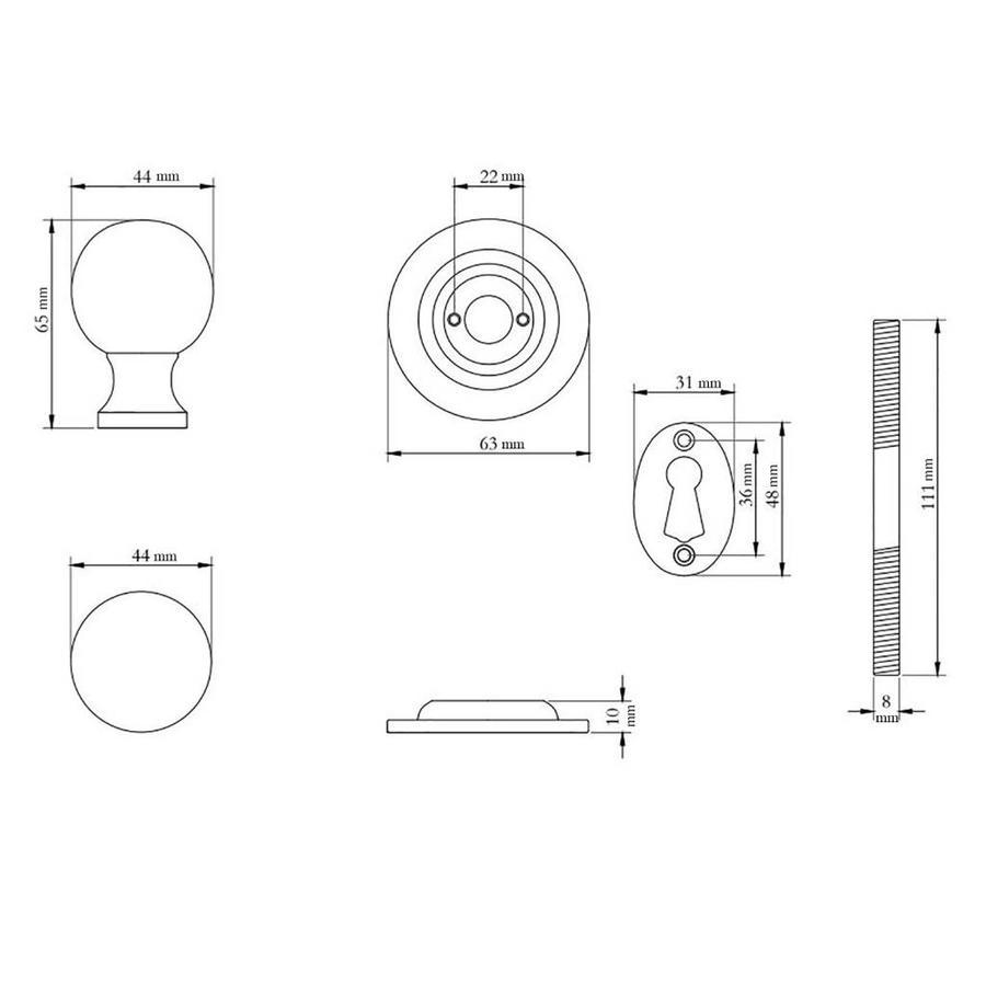 Rustikaler Türknauf rund - Zinn-Effekt