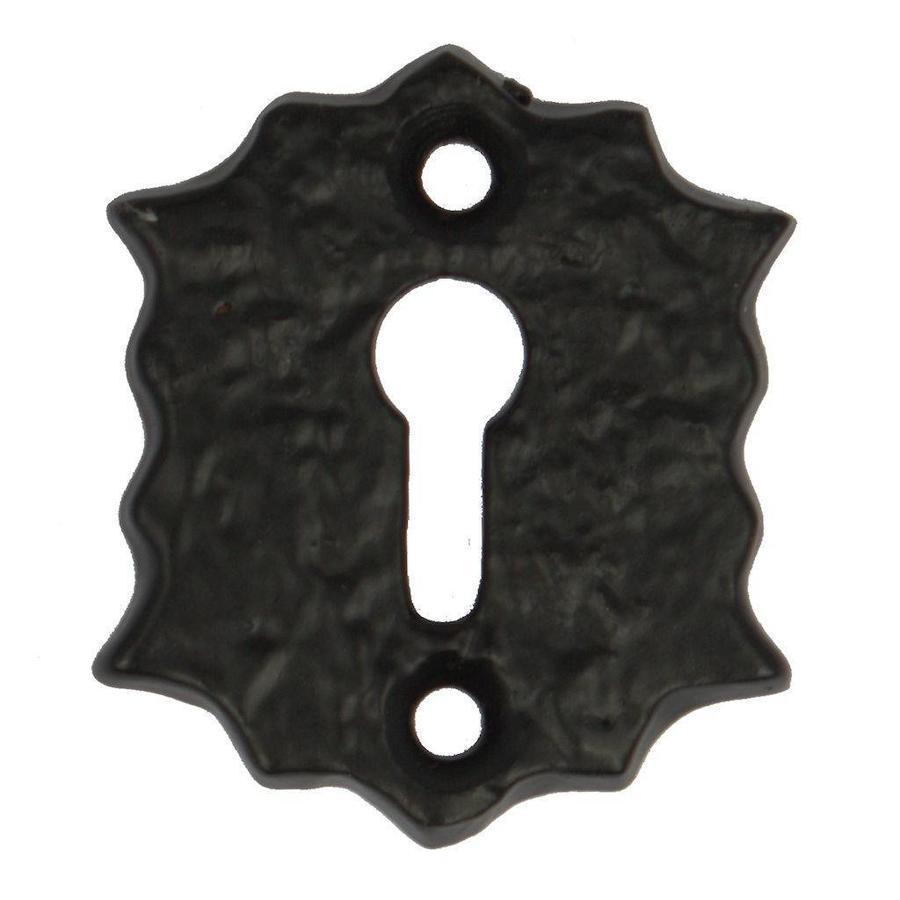 Schlüsselrosette Blume - schwarz lackiert