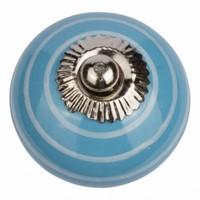 Porzellanknauf blau mit weißen Streifen