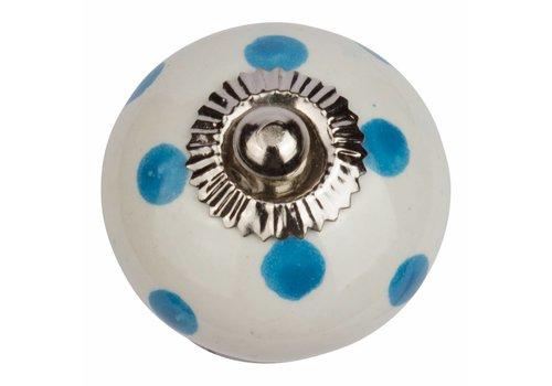 Keramik Möbelknopf weiß mit dunkelblauen Punkten