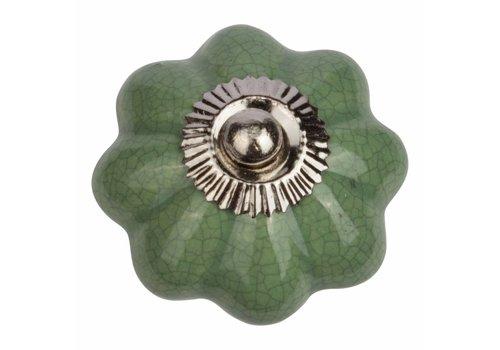 Keramik Möbelknopf grüne Blume krakeliert