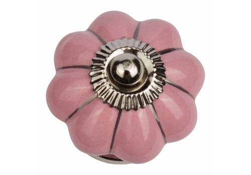 Keramik Möbelknopf pinke Blume mit silbernen Streifen