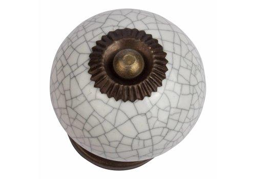 Keramik Möbelknopf weiß krakeliert - dunkler Beschlag