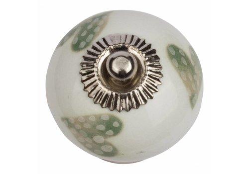 Keramik Möbelknopf weiß mit hellgrün/weiß gepunktete Herzchen