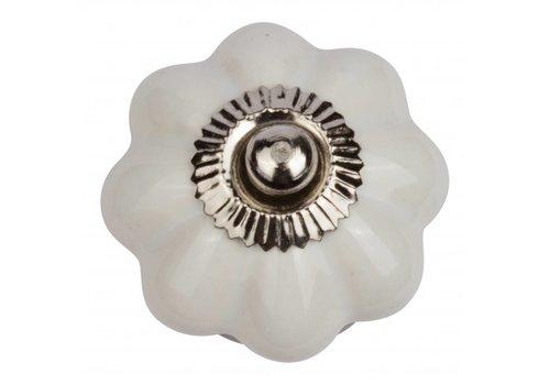 Keramik Möbelknopf weiße Blume