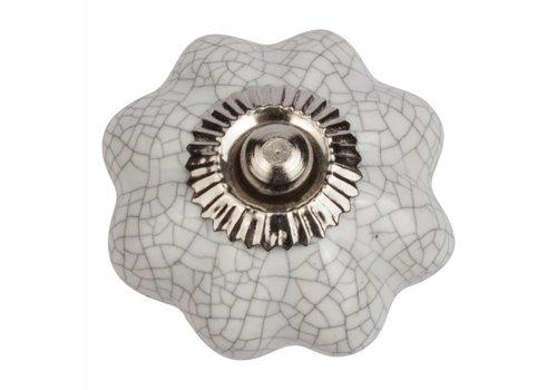 Keramik Möbelknopf weiße Blume krakeliert