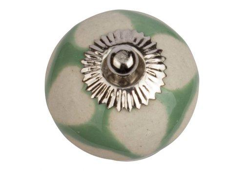 Keramik Möbelknopf grün mit beigen Herzchen