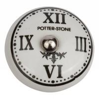 """Porzellanknauf römische Uhr """"Potter Stone"""""""