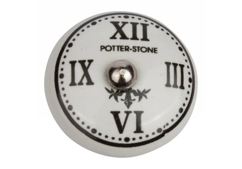 "Keramik Möbelknopf römische Uhr ""Potter Stone"""