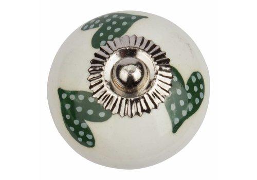 Keramik Möbelknopf weiß mit dunkelgrün/weiß gepunktete Herzchen